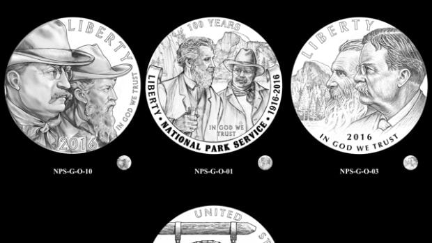 Designs the CCAC discussed for the National Park Service $5 gold coin. They ultimately selected obverse number 3 and reverse number 3.