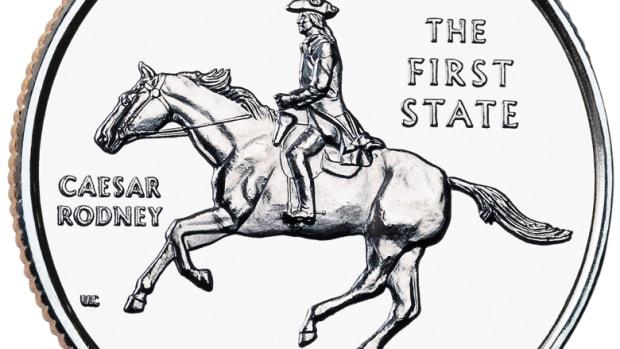 Caesar Rodney depicted on the Delaware Statehood Quarter
