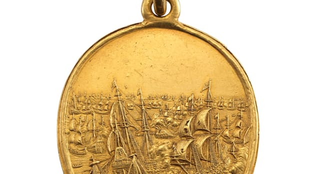 The excessively rare and desirable Naval Reward for Captains gold medal of 1653 by Thomas Simon, a.k.a.  Blake Medal, will be offered at auction by Woolley & Wallis on Oct. 16. Images courtesy Woolley & Wallis.