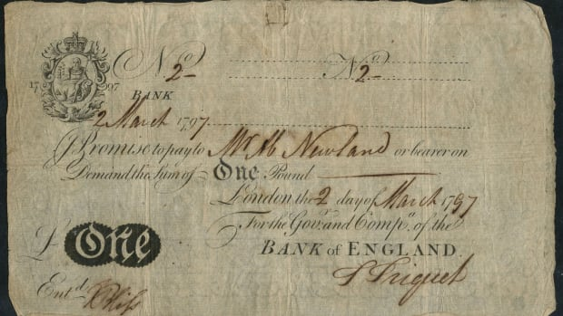 Supreme collectable: Bank of England £1 #2 of 2 March 1797 signed by Abraham Newland (P-170; EPM B200a).  In a remarkable PMG-20 Very Fine it will be offered by Spink at their London sale on Oct.10 with an estimate of £50,000-60,000. Image courtesy of Spink, UK.