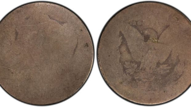 Obverse (left) and reverse (right) of the 1878 8 tail feather PO-1 Morgan dollar