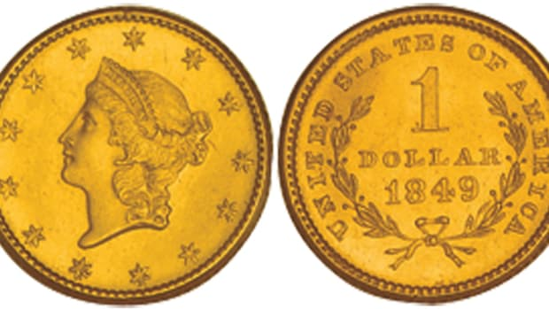 A 1849 type one Liberty Head gold dollar coin.