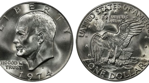 A 1974 clad-composition Eisenhower (Ike) dollar. (Images courtesy usacoinbook.com.)