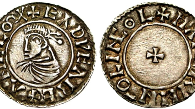Silver penny of Edward the Martyr struck at the mint in Lincoln. (Stack's Bowers image)