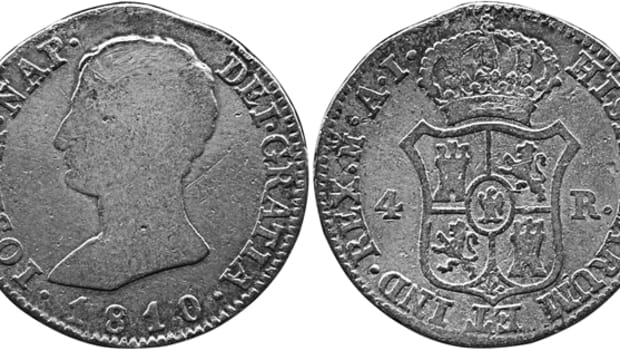 The French occupation of Spain was accompanied by a puppet king and inflation money. This coin, from the Madrid mint, looks like, no, is a 2 reales but it says its a 4. (Actual size, 26mm)