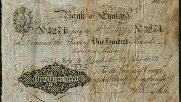 One of just two extant BoE Thomas Rippon £100s of 23 July 1832 (P-216; EPM B202a). It secured top price of $82,340 at Spink's May sale of the Lou Manzi collection. (Image courtesy and © Spink London.)