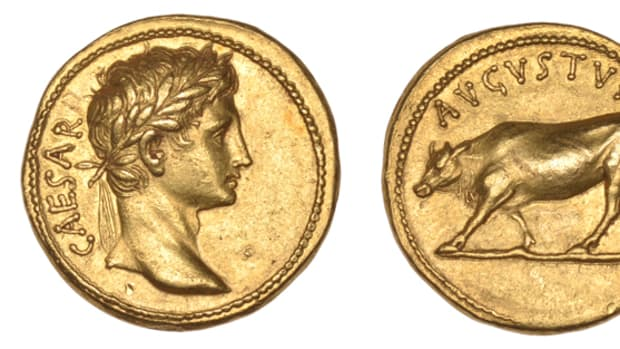 A rare Roman aureus of the Emperor Augustus will be offered  at auction in London.