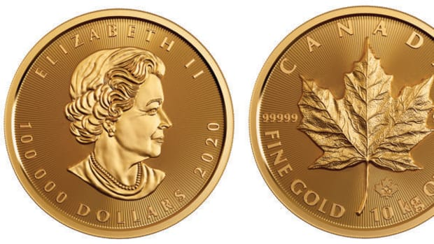 The 2020 $100,000 10-kg 99.999 percent pure gold Maple Leaf coin. (Images courtesy Royal Canadian Mint)