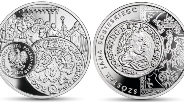 Obverse and reverse of the new Polish silver 20 zł proof comemmorating the historic 17th century szóstak of six grosz of John III Sobieski. Images courtesy Narodowy Bank Polski.