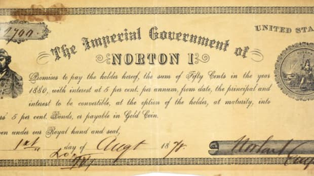50-cent note of Emperor Norton I, Emperor of the United States and Protector of Mexico, offered in a sale by Kagin's Auctions.