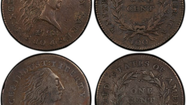 Weinberg specimen top, Wolcott bottom (Photo credit: PCGS CoinFacts.)