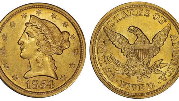 Leading Stack's Bowers Galleries March auction was an 1854-S half eagle. After 38 years of being off the market, it surged back into the spotlight with a $1.92 million price tag. (All images courtesy Stack's Bowers Galleries.)