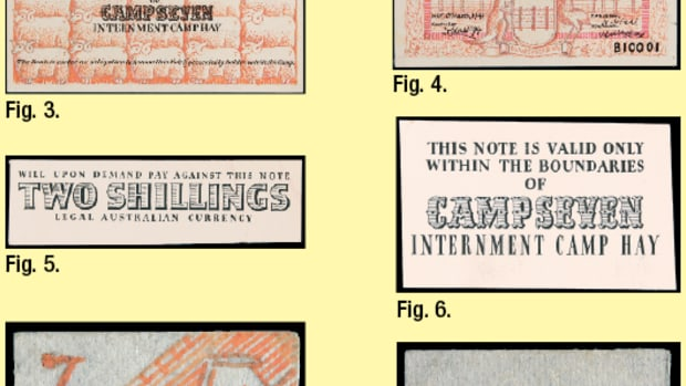 "Eight of the 12 items from the George Teltscher archive related to the production of the internment Camp Seven Bank issues of WW II: (Fig. 1.) uniface printer's trial in red of the two shillings face signed Stahl lacking main overprint, left signature and serials; (Fig. 2.) uniface printer's trial in blue of two shillings face with overprint but lacking date, serial and second signature; (Fig. 3.) uniface printer's trail in scarlet of common back of notes with overprint; (Fig. 4.) uniface artist's ink drawing in pink and black of the face the two shillings with a date of March 6, 1941, serial B10001, and ""Controller"" as Dr. Hardegg at left and ""Manager"" R. Stahl at right; (Fig. 5.) black overprint for face of two shillings; (Fig. 6.) common black overprint for back of all notes; (Fig. 7.) shield-shaped ink drawing of three huts and numbers ""7""; (Fig. 8.) shield-shaped drawing of Merino ram as used on printed notes with initials ""A E."" Images courtesy Noble Numismatics."