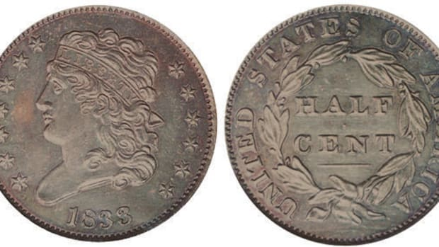An 1833 Classic Head half cent graded PR-64 Brown by PCGS. (Images courtesy Heritage Auctions)