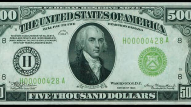 Graded PMG Choice Uncirculated 64EPQ this St. Louis $5,000 went for $258,500.