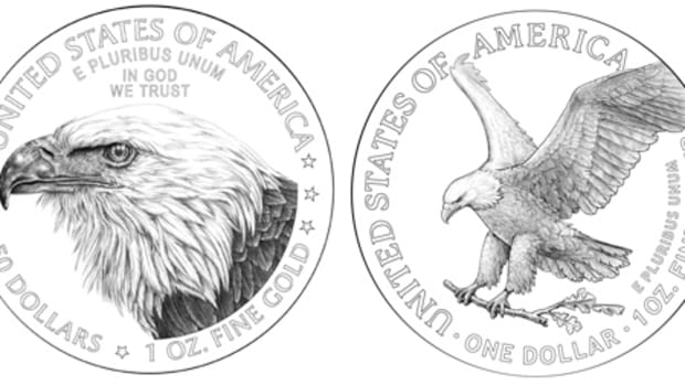 Reverse designs for the 2021 American Eagle in gold (left) and silver.