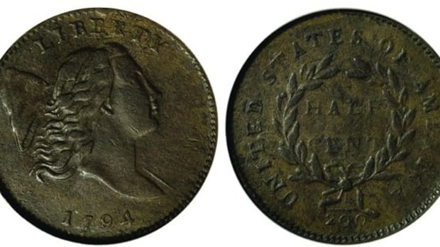 This 1794 half cent is graded XF-45 by Numismatic Guaranty Corporation. (Images courtesy Heritage Auctions, www.ha.com)