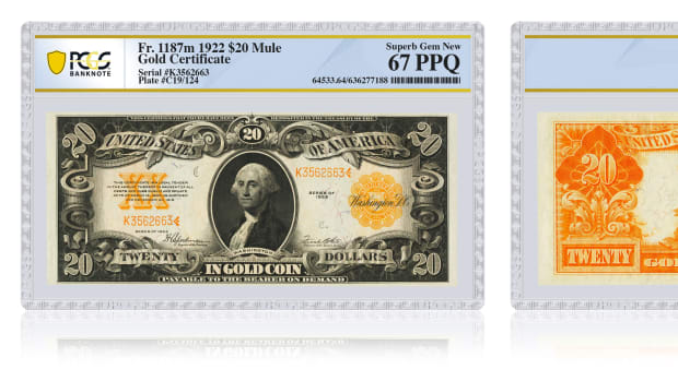 Example image of a note in a new PCGS Banknote holder. (Image credit: Professional Coin Grading Service www.PCGS.com.)