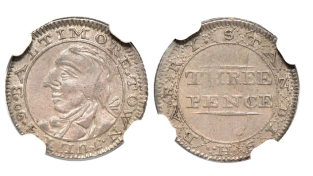 Lot 538, a 1790 Standish Barry Baltimore threepence that is believed to be struck in commemoration of Independence Day. Its online bid at the time of writing was $90,000