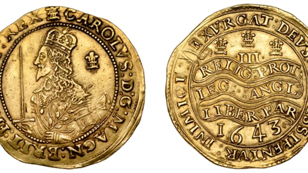 Top-selling hammered gold at DNW's November sale: Charles I triple unite that took $79,728 in gVF. All imagess courtesy and © Dix Noonan Webb.