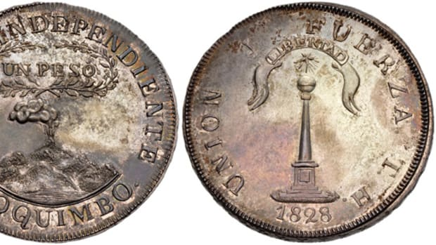 Selling for $108,900 was this Chilean 1828 TH Coquimbo Peso.