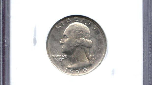 The certified 1970-S proof quarter struck over a 1941 Canadian silver quarter.