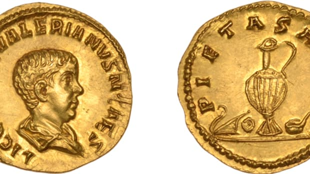 The aureus that sold for $131,040 dates from 258. It depicts a bare-headed Saloninus as Caesar on the obverse. He had been appointed Caesar or first in line of the succession in 258 by his father, probably at the instigation of his grandfather, Valerian I, the senior Emperor at the time. In 260 Saloninus was murdered by rebellious troop in Cologne at age 18. Image courtesy DNW.