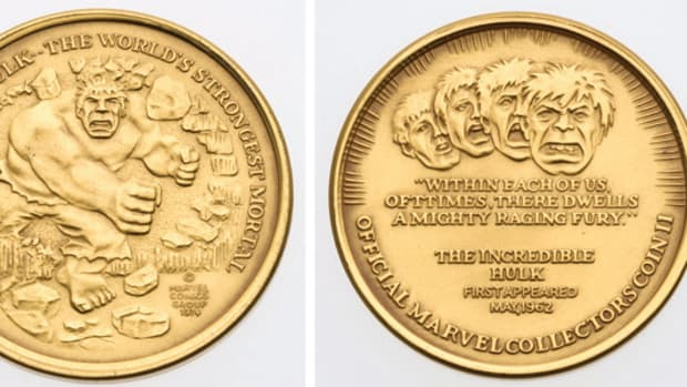 This gold plated silver Incredible Hulk coin/medallion was produced in 1974 by Hallmark Minting for sale through Marvel Comic books.