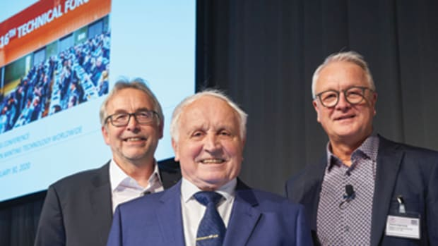 At the opening of the 16th Annual Technical Forum at the World Money Fair 2020 (from left): Dieter Merkel of Schuler Pressen, Albert Beck, WMF founder and honorary president, and Thomas Hogenkamp of Spaleck, each also Coin of the Year judges. (Photo by Andreas Schoelzel, courtesy of World Money Fair.)