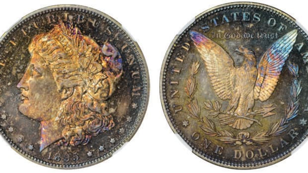 Lot 1199: an 1895 Morgan dollar graded Gem Proof NGC-67.