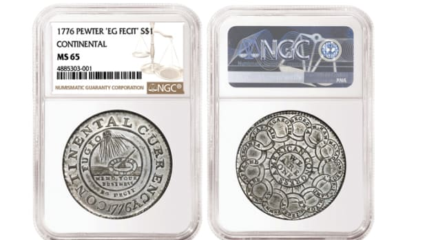 Shown here is the 1776 Pewter Continental Dollar up for auction in Heritage's Dallas Auction Oct. 17-19. Images courtesy of NGC