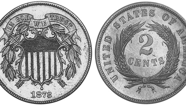 For a coin with a mintage of just 1,100 proof-only pieces and fewer than that surviving today, the 1873 two-cent coin is available and not as expensive some may think.