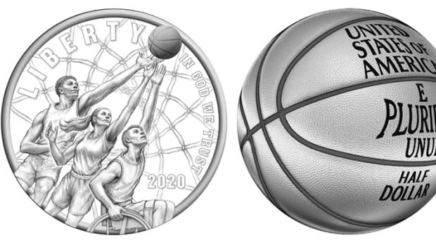 The two design renderings selected as the CCAC's primary choice for the Naismith Memorial Basketball Hall of Fame Commemorative Coin Program. (Images courtesy of the United States Mint)