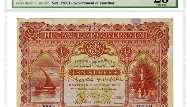 Zanzibar 1928 10 Rupees, graded PMG 25 Very Fine.