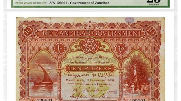 Zanzibar 1928 10 Rupees, graded PMG 25 Very Fine.