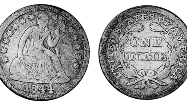 The story of the 1844 Seated Liberty dime is surrounded by a number of myths made up to explain what couldn't otherwise be.