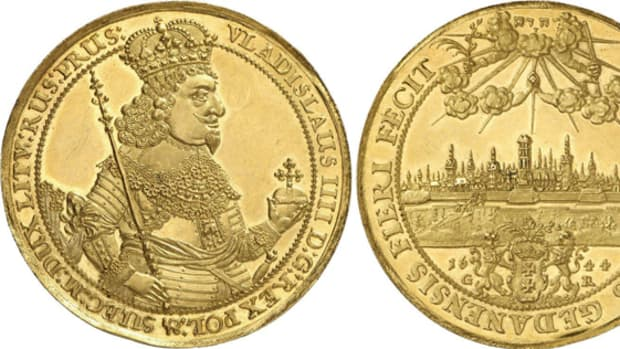 A gold 8 ducats from Danzig dated 1644 of Vladislaus IV in nearly FDC sold for 240,000 euro.