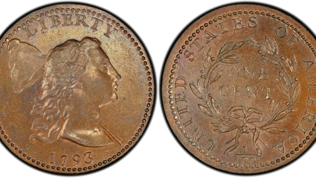 A 1793 Liberty Cap cent graded VF-30 by PCGS. (Images courtesy Heritage Auctions.)
