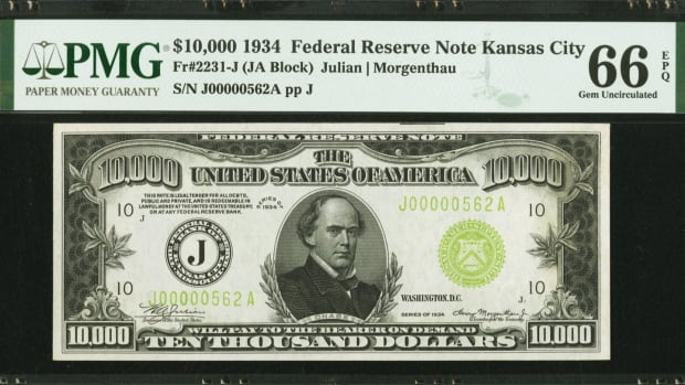 Lot 20637 is this $10,000 1934 Federal Reserve Note with signatures of Julien and Morgenthau. (Image courtesy of Heritage Auctions)