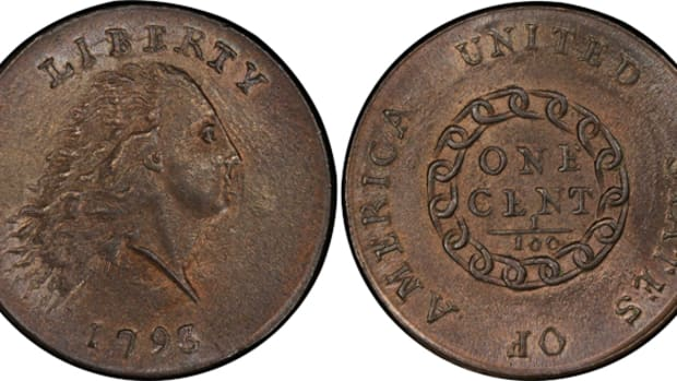 Top lot for the night was this 1793 Liberty