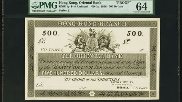Top selling Hong Kong Oriental Bank $500 proof that sold for $45,410.
