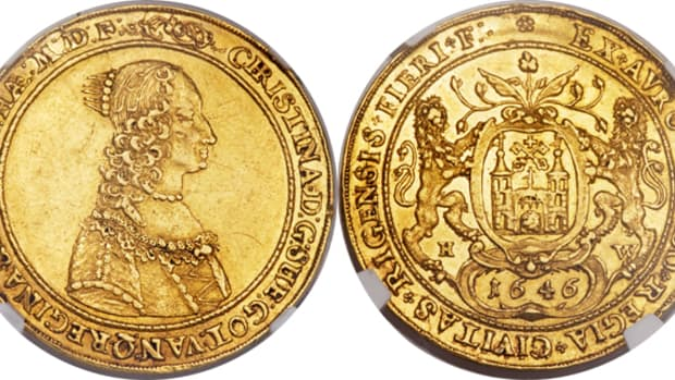 Lot 30904: A NGC-graded AU-53 1646 Queen Christina Swedish Possession of Riga 4 ducat. Estimate: $100,000 - $125,000.