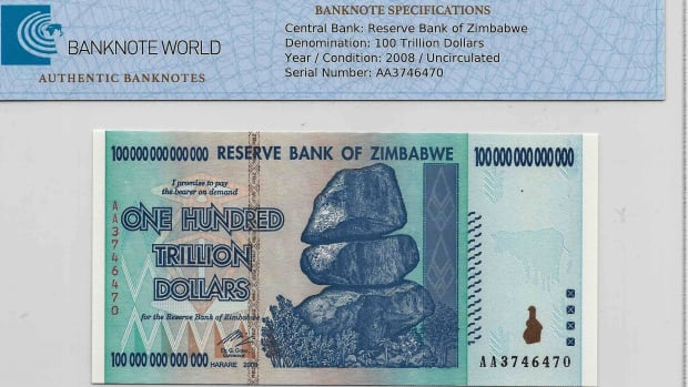 Uncirculated Zimbabwe 2008 100 trillion dollars.