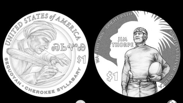 The chosen designs for the 2017 (left) and 2018 (right) Native American dollar coins.