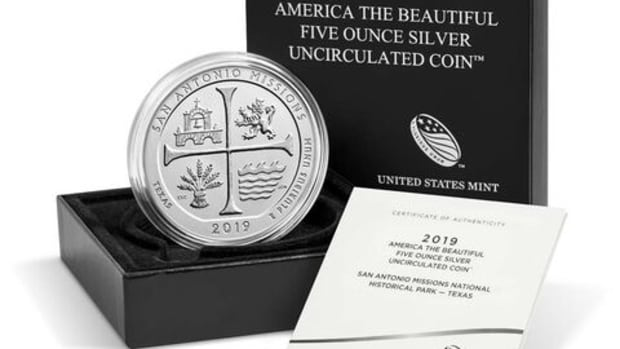 Each of the 5-ounce coins includes 99.9 percent silver and is delivered in a keepsake box accompanied by a certificate of authenticity.  (Image courtesy of the United States Mint)