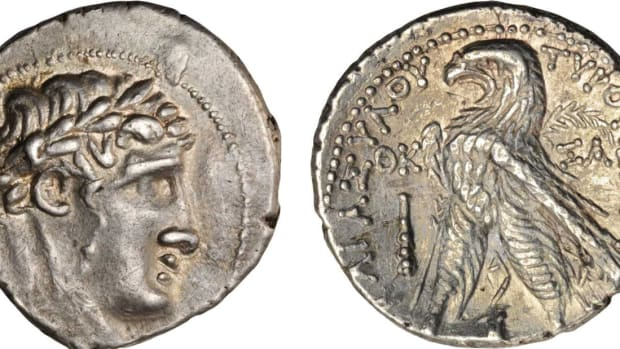 Obverse of a silver tetradrachm of Tyre about 126 B.C.E. or later depicts the laureate head of the god Melqarth. Reverse is an eagle. Courtesy of Stack's.