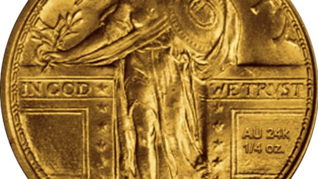 A U.S. Mint mock-up image of the gold Centennial Standing Liberty quarter.