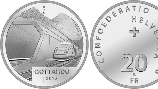 The 2016 20 Francs Swiss silver coin honoring the completion of the Gotthard Tunnel was issued just before the tunnel's opening.