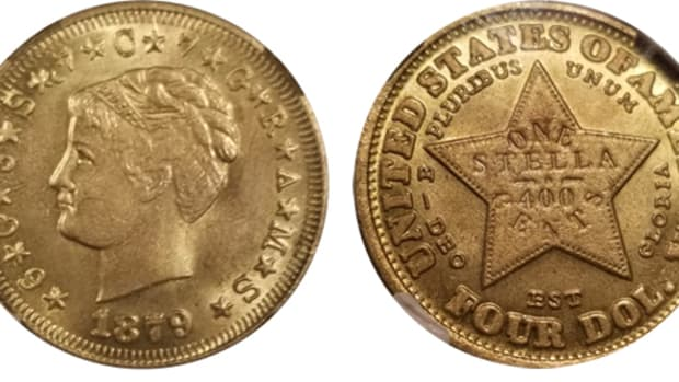 Obverse and reverse of the counterfeit 1879 Coiled Hair $4 Stella that is jointly being investigated by the Anti-Counterfeiting Educational Foundation and federal and local California law enforcement agencies. (Images courtesy Ryan Moretti.)