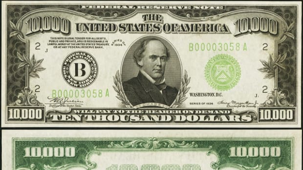 This $10,000 note from Binion hoard is a star entry in Heritage's Currency Signature Auction at FUN.